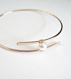 Rose Gold Pearl Bangle Bracelet Mothers Gift by vintagestampjewels