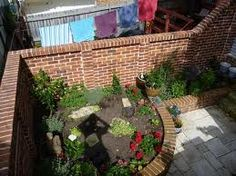 Brick raised planters