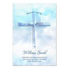 First Communion Catholic boy blue cross Invitation   Zazzle.com