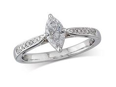 Platinum set single stone diamond engagement ring, with a certificated marquise cut centre in a four claw setting, and diamond set shoulders. Perfect fit with a wedding ring. Total diamond weight:0.56ct  A 0.46ct centre, Marquise, D, Single stone diamond ring. You can reserve online and view in store at Michael Jones Jeweller, Northampton