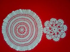 CROCHETED DOILIES 2 HANDMADE Vintage Made   Late Fifties by QuiltingbyDiamanti on Etsy