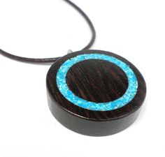 Turquoise Inlaid Necklace with Real Crushed Turqoise Stone - Handcrafted Jewelry with Exotic Wenge Wood blue circle wdd
