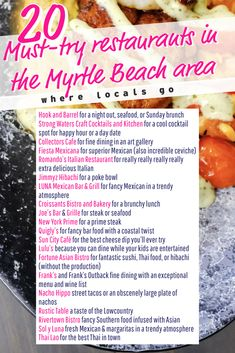 20 must-try restaurants in the Myrtle Beach area, from Pawleys to Conway ⋆ In no particular order, the 25 must-try restaurants in the Myrtle Beach area that offer an excellent menu and are unique to the area. Myrtle Beach Boardwalk, Myrtle Beach South Carolina, Myrtle Beach Vacation, Myrtle Beach Sc, Beach Trip, Beach Travel, Beach Vacations, Hawaii Beach, Oahu Hawaii