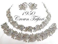 1950 Crown Trifari Golden Laurel in Silver by KathysVintageJewels2, $55.00