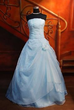 picture of baby blue strapless prom dress