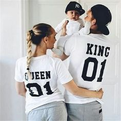 New Family King Queen Matching Outfits Cotton Matching Family Clothes T-shirt Family matching clothes