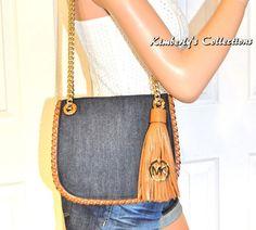 7642d5d95632 MICHAEL KORS Blue   Brown Trim Messenger Shoulder Bag Purse NWT