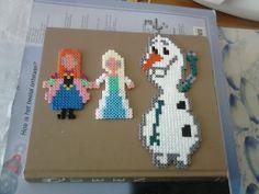 Frozen characters (Anna, Elsa, Olaf) perler beads by Demi van Baalen