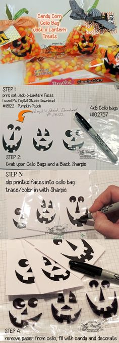 www.PattyStamps.com - HOW TO use printed My Digital Studio jack o lantern faces and trace onto cello bags for quick and cute Halloween treat