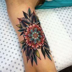 folk flower tattoo
