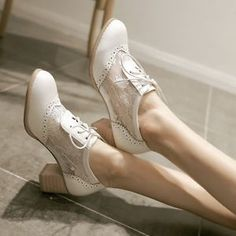 Womens-Girls-Summer-Mesh-Floral-Lace-Oxfords-Cuban-Heel-Summer-Shoes-PLus-Size