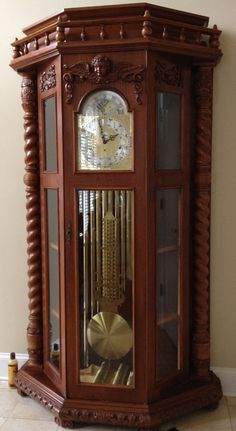 One of our customers collects German Curio clock. We have totally rebuilt 3 for her so far. This is the latest. Its a 9 tube chain driven clock. All hand carved and made of mixed solid oak and solid Walnut case. Unique Clocks, Vintage Clocks, Grandfather Clocks, Chain Drive, Solid Oak, Altar, Living Rooms, Hand Carved, Woodworking