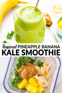 Tropical Pineapple Banana Kale Smoothie the BEST most delicious green smoothie Be sure to use fair trade banana and pineapple greensmoothie healthysmoothies healthybreakfast wellplated via wellplated # Banana Kale Smoothie, Kale Smoothie Recipes, Smoothie Vert, Smoothie Detox, Kale Smoothies, Pineapple Banana Smoothie, Cleansing Smoothies, Lunch Smoothie, Best Green Smoothie