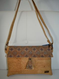 7e69bd26e4c6 Natural Cork Shoulder Handbag with Blue Design - Fine Cork Bag - Cork Purse  Eco-