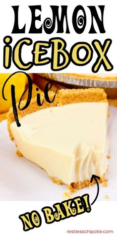 Old Fashioned Lemon Icebox Pie is the perfect combination of sweet and tangy. No baking means this pie is super easy! #nobake #lemon #oldfashioned #eaglebrand #recipe #restlesschipotle #makeahead #grandmas Frozen Desserts, No Bake Desserts, Easy Desserts, Delicious Desserts, Yummy Food, Health Desserts, Lemon Dessert Recipes, Lemon Recipes, Sweet Recipes