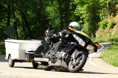 Honda Goldwing towing a Kompact Kamp Mini Mate Motorcycle Camper on the Tail of the Dragon.  Learn more at www.kktrailers.com Pull Behind Motorcycle Trailer, Motorcycle Campers, Trailers, Honda, Dragon, Mini, Vehicles, Hang Tags, Dragons