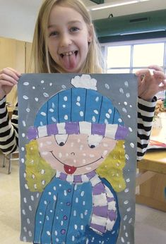 Snow Kid Paintings elementary art education kinders kindergarten 1st grade 2nd grade winter snow self-portraits painting tempera