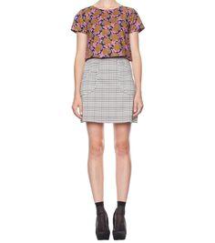 colourful top & monochrome skirt