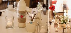 spray painted bottles, burlap, buttons and twine centerpieces