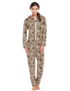 Hooded Leopard Print Fleece Onesie