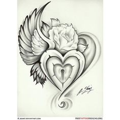 Broken Heart with Wings Tattoo | Tattoos / wing heart lock rose tattoo - Polyvore  Repin  Follow my pins for a FOLLOWBACK!