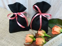 120 Linen favor bags. Black  bags. Small Gift Bag. by LINENSPRING