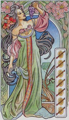 7 de bâtons - Tarot art nouveau par Antonella Castelli