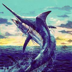 Black Marlin Marlin Azul, Fish Mounts, 4 Tattoo, Deep Sea Creatures, Koi, Salt Water Fish, Seascape Art, Fishing Photography, Fish Drawings
