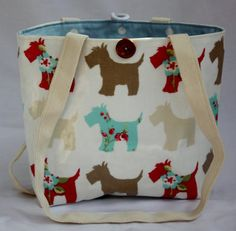 small scottie handbag reversible one side oilcloth by GoossensBags
