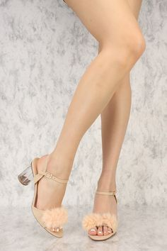 840a5adf543 Nude Faux Fur Open Toe Clear Round Chunky High Heels Faux Suede