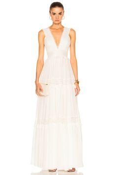 Image 1 of Zuhair Murad Georgette & Lace Gown in Bright White