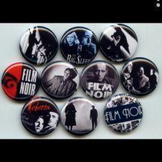 Film Noir Cinema Dark Drama pinback button set by Yesware11 on Etsy.. Click for details!
