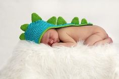 Newborn Baby Dinosaur Crochet Hat With Tail Photo Prop by LuvKnotz, $20.00