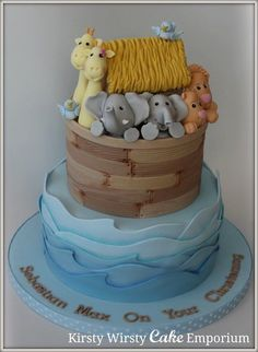 Noah's Ark Christening Cake - cake by Kirsty Cupcakes, Cupcake Cakes, Noahs Ark Cake, Christening Cake Boy, Animal Cakes, Cakes For Boys, Boy Cakes, Novelty Cakes, Occasion Cakes