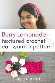 This gorgeous crochet earwarmer uses just three stitches for a cute and gorgeous crochet pattern Crochet Ear Warmer Pattern, Crochet Headband Pattern, Crochet Patterns, Crochet Headbands, Crochet Hats, Raspberry Lemonade, Head Bands, Ear Warmers, Free Crochet
