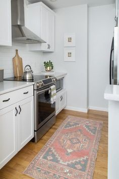 These long narrow kitchen and dining room