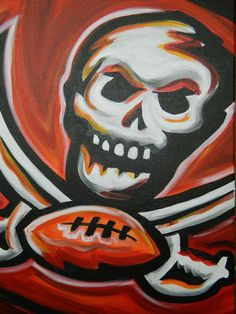 Tampa Bay Buccaneers painting sports art football by crockerart, $50.00