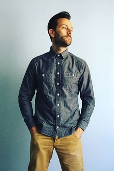The California in Charcoal Everyday Chambray Shirt from Taylor Stitch.  Available at The Revive Club.  #taylorstitch #thereviveclub #mensshirts