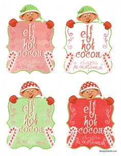 Free elf hot cocoa printables -  give cute little gifts with elf printables - Design Dazzle