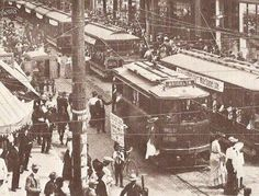 Brooklyn's team (now in L.A.) was nicknamed the Trolley Dodgers then Dodgers after scenes much like this.