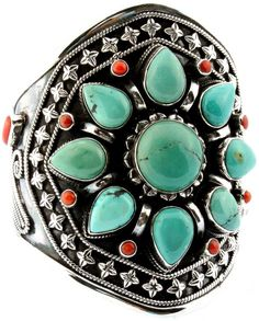Rigid Sterling Silver Bracelet Embedded with Turquoise and Coral Beads