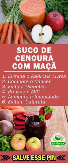 Os 10 Benefícios do Suco de Cenoura com Maçã Para Saúde  #sucodemaçã #sucodecenoura #sucodecenouracommaçã #dicas #saúde #receitas #truques #dicasdesaude #dicasdebeleza #receitascaseiras #receitasnaturais #dicasparaemagrecer #fitness #detox #benefíciodosucodecenoura #benefíciosdosucodecenoura #praqueserveosucodecenoura #sucodecenourabenefícios #sucodecenourabenefício #sucodecenouraparaqueserve #sucodecenouraengorda #sucodecenouraemagrece Low Carb Recipes, Healthy Recipes, Juice Smoothie, Smoothies, Healthy Drinks, Health Tips, Detox, Veggies, Health Fitness