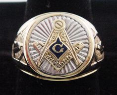 Masonic Ring Gold Mens in Heavy Solid 10K Gold 2-Tone Yellow & White Gold Grand Mason's Ring Blue Lodge Ring Masonic Ring Mason Ring by americanjewelryco, $600.00