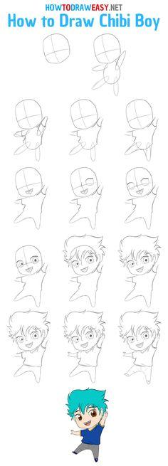 Easy Chibi Drawings, Chibi Boy, Chibi Sketch, Kawaii, Step By Step Drawing, Manga, Drawing Reference, Anime, Boys