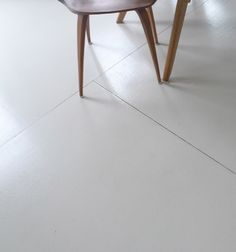 Remodeling Painted PlywoodThe Best Budget Wood Floor High gloss painted white plywood floor Sally Schneider The Improvised Life Painted Plywood Floors, Plywood Subfloor, White Wood Floors, Hardwood Floors, Painting Plywood, Best Wood Flooring, Plywood Chair, Cork Flooring, Wood Floor Bathroom