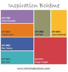 Inspirée de l'esprit tzigane, cette atmosphère prend vie grâce aux tons vifs et éclatants, ponctués de teintes sombres. www.chromaticstore.com #deco #couleur #bohème