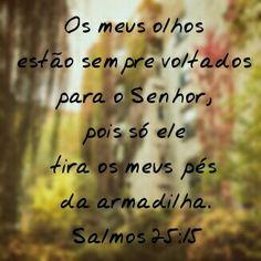 Os meus olhos estão sempre voltados para o Senhor , pois só ele tira os meus pés da armadilha. Salmos 25:15