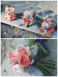 coral roses and babies breath bouquet - Google Search