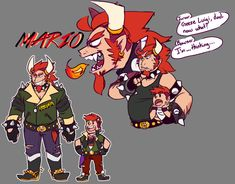 Human versions of Nintendo's popular video game franchise Super Mario with Bowser Koopa as a human (as well as a sketch of his son, Bowser Jr) Mario And Luigi, Mario Kart, Mario Bros, Super Mario Games, Super Mario Art, How To Draw Mario, Mario Fan Art, King Boo, Nintendo Characters