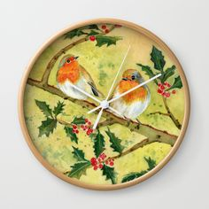 "English Robin by Melly Terpening Available in natural wood, black or white frames, our 10"" diameter unique Wall Clocks feature a high-impact plexiglass crystal face and a backside hook for easy hanging. Choose black or white hands to match your wall clock frame and art design choice. Clock sits 1.75"" deep and requires 1 AA battery (not included)."